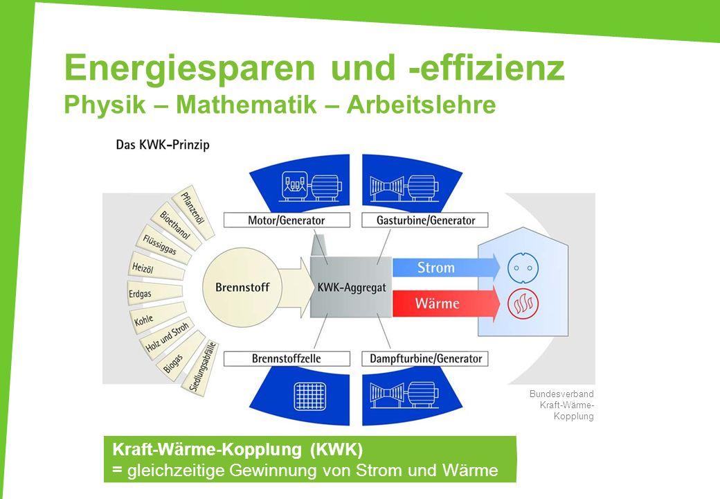 Energiesparen und -effizienz Physik – Mathematik – Arbeitslehre Kraft-Wärme-Kopplung (KWK) = gleichzeitige Gewinnung von Strom und Wärme Bundesverband