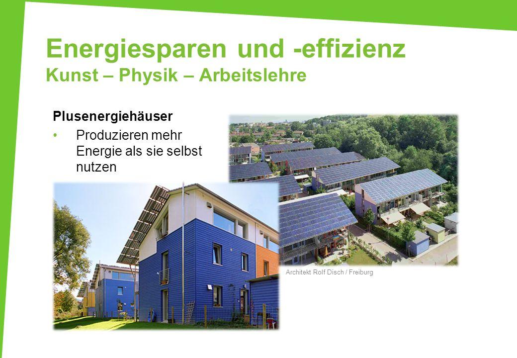 Energiesparen und -effizienz Kunst – Physik – Arbeitslehre Architekt Rolf Disch / Freiburg Plusenergiehäuser Produzieren mehr Energie als sie selbst n