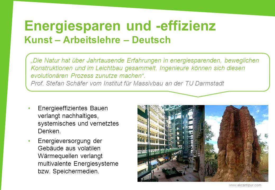 Energiesparen und -effizienz Kunst – Arbeitslehre – Deutsch www.ekcantipur.com Die Natur hat über Jahrtausende Erfahrungen in energiesparenden, bewegl