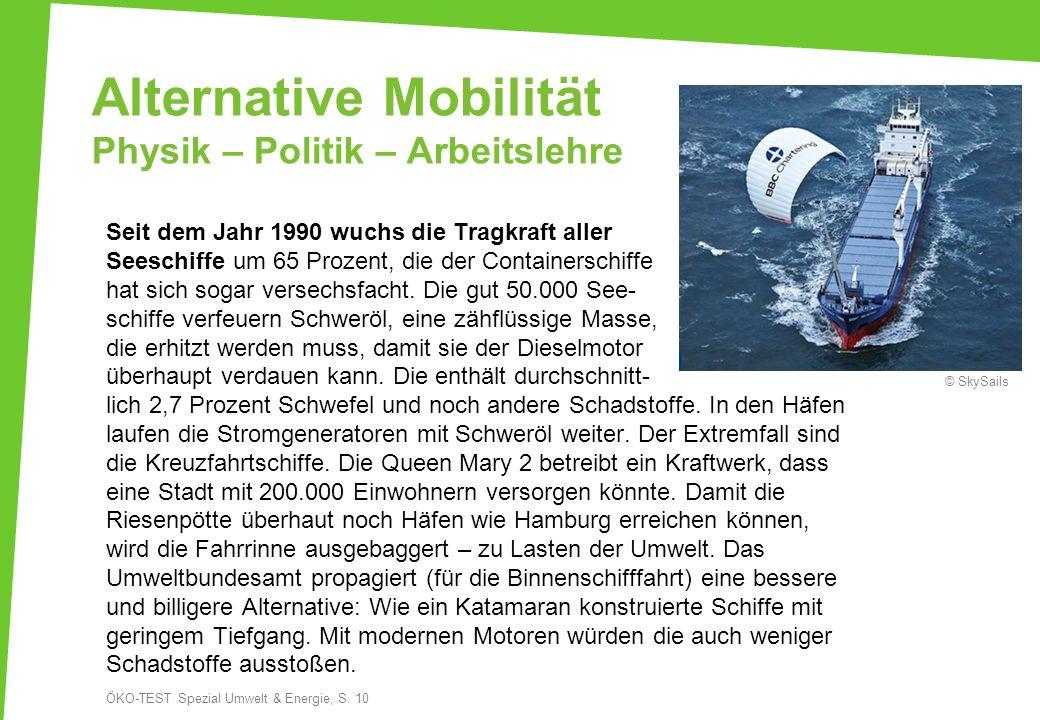 Alternative Mobilität Physik – Politik – Arbeitslehre Seit dem Jahr 1990 wuchs die Tragkraft aller Seeschiffe um 65 Prozent, die der Containerschiffe