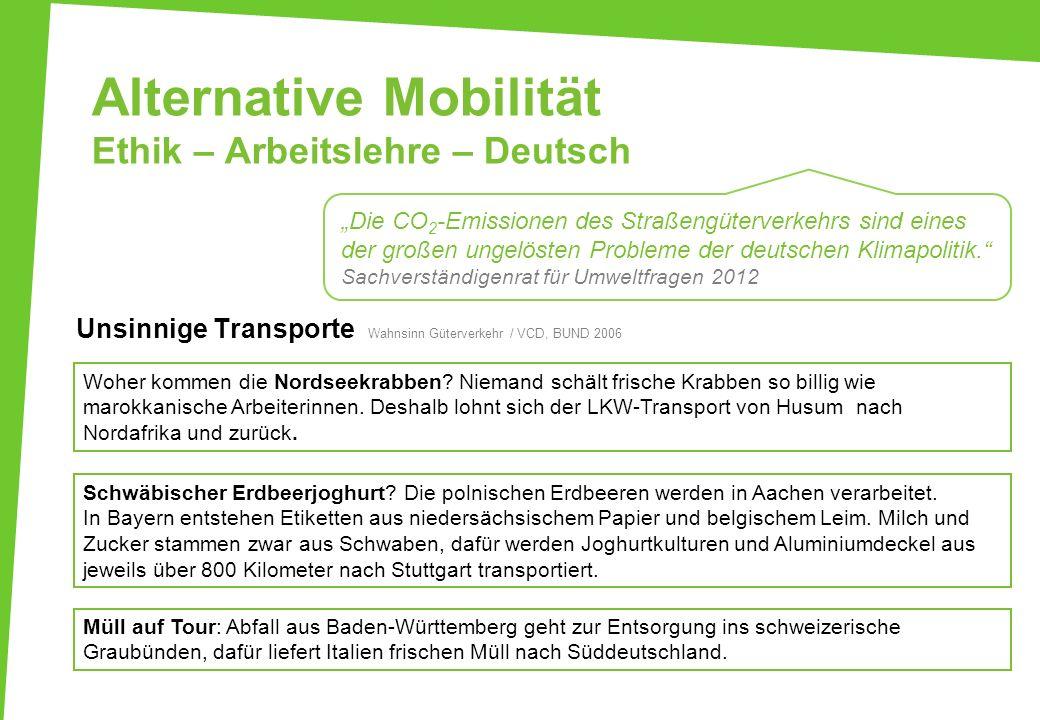 Alternative Mobilität Ethik – Arbeitslehre – Deutsch Unsinnige Transporte Wahnsinn Güterverkehr / VCD, BUND 2006 Woher kommen die Nordseekrabben? Niem