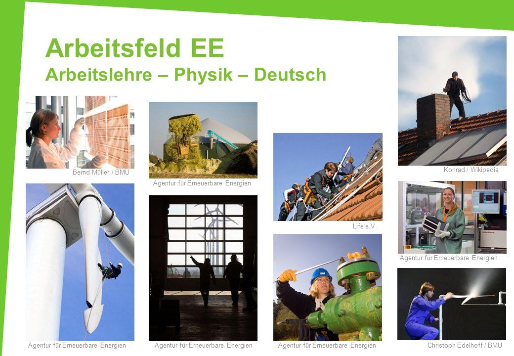 Arbeitsfeld EE Arbeitslehre – Physik – Deutsch Agentur für Erneuerbare Energien Life e.V. Christoph Edelhoff / BMU Konrad / Wikipedia Agentur für Erne