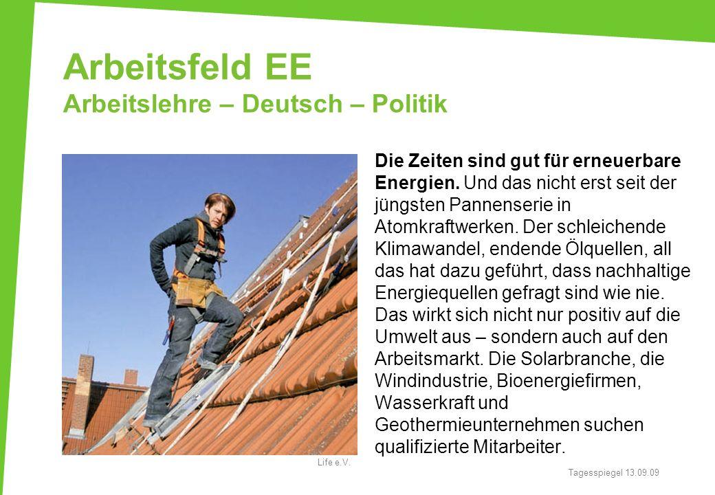 Arbeitsfeld EE Arbeitslehre – Deutsch – Politik Die Zeiten sind gut für erneuerbare Energien. Und das nicht erst seit der jüngsten Pannenserie in Atom