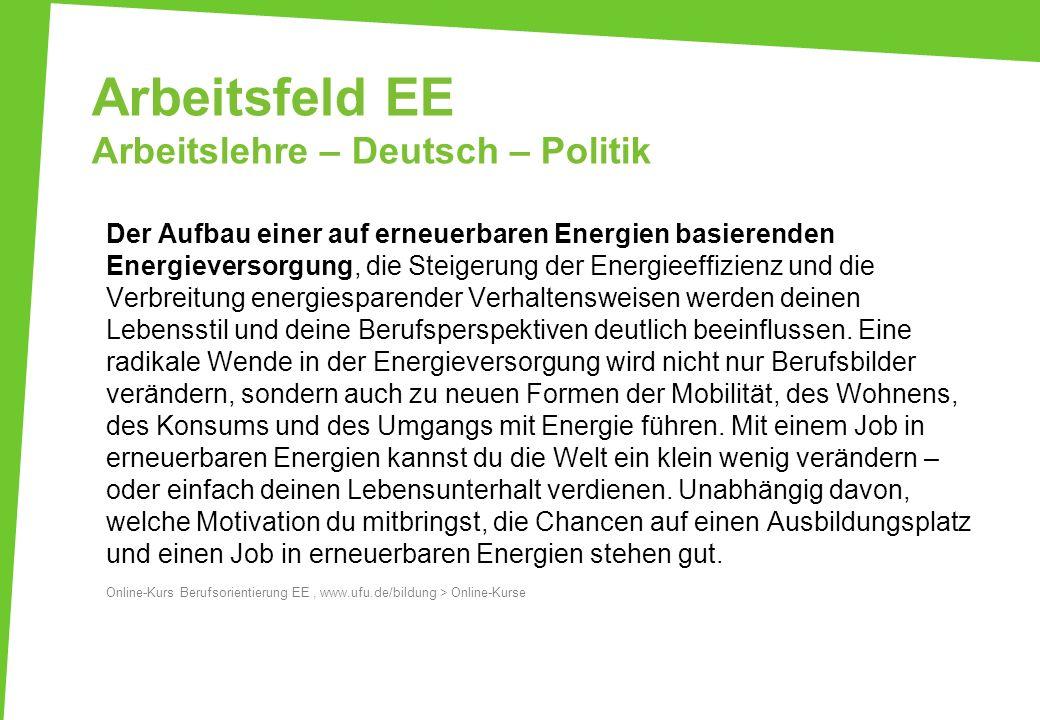 Arbeitsfeld EE Arbeitslehre – Deutsch – Politik Der Aufbau einer auf erneuerbaren Energien basierenden Energieversorgung, die Steigerung der Energieef