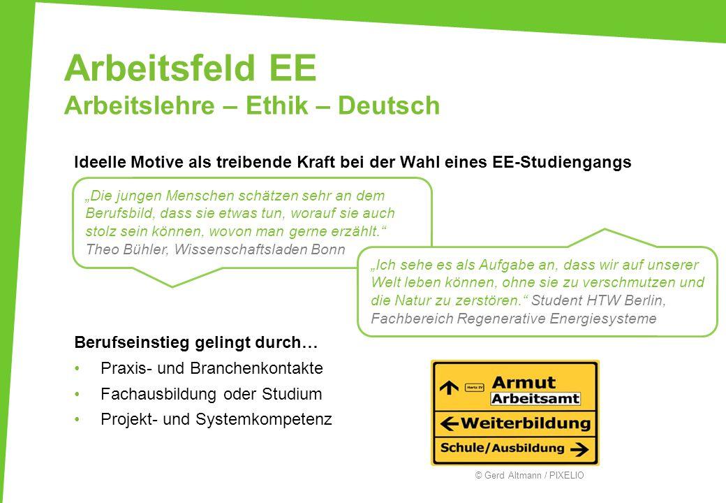 Arbeitsfeld EE Arbeitslehre – Ethik – Deutsch Ideelle Motive als treibende Kraft bei der Wahl eines EE-Studiengangs Berufseinstieg gelingt durch… Prax
