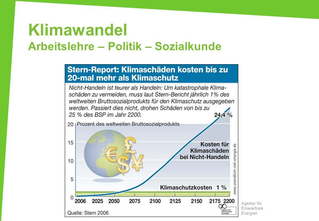 Klimawandel Arbeitslehre – Politik – Sozialkunde Agentur für Erneuerbare Energien