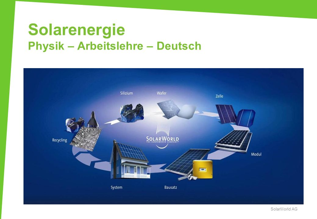 Solarenergie Physik – Arbeitslehre – Deutsch SolarWorld AG