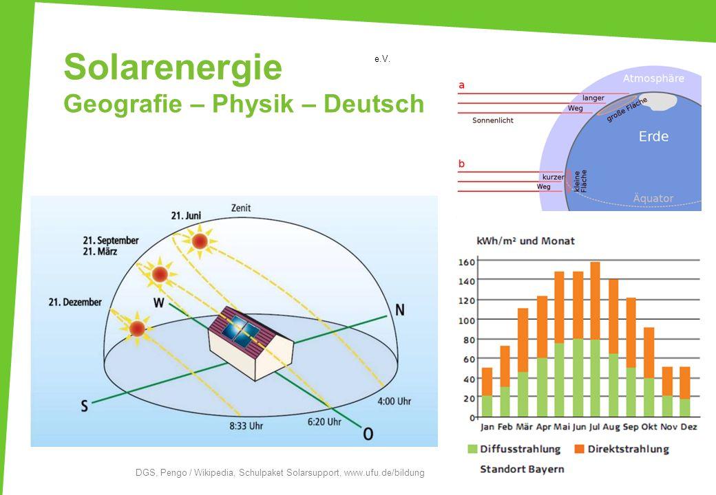 Solarenergie Geografie – Physik – Deutsch e.V. DGS, Pengo / Wikipedia, Schulpaket Solarsupport, www.ufu.de/bildung