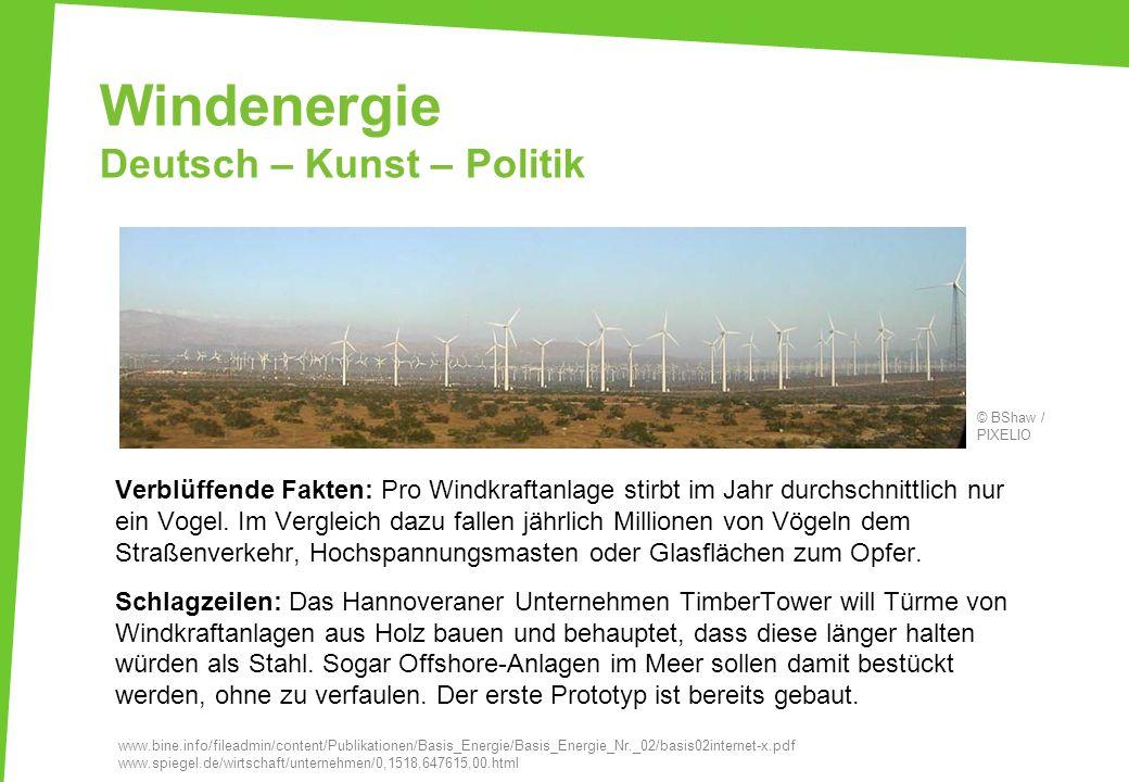 Windenergie Deutsch – Kunst – Politik Verblüffende Fakten: Pro Windkraftanlage stirbt im Jahr durchschnittlich nur ein Vogel. Im Vergleich dazu fallen