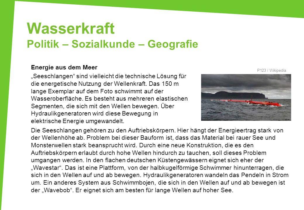 Wasserkraft Politik – Sozialkunde – Geografie Energie aus dem Meer Seeschlangen sind vielleicht die technische Lösung für die energetische Nutzung der