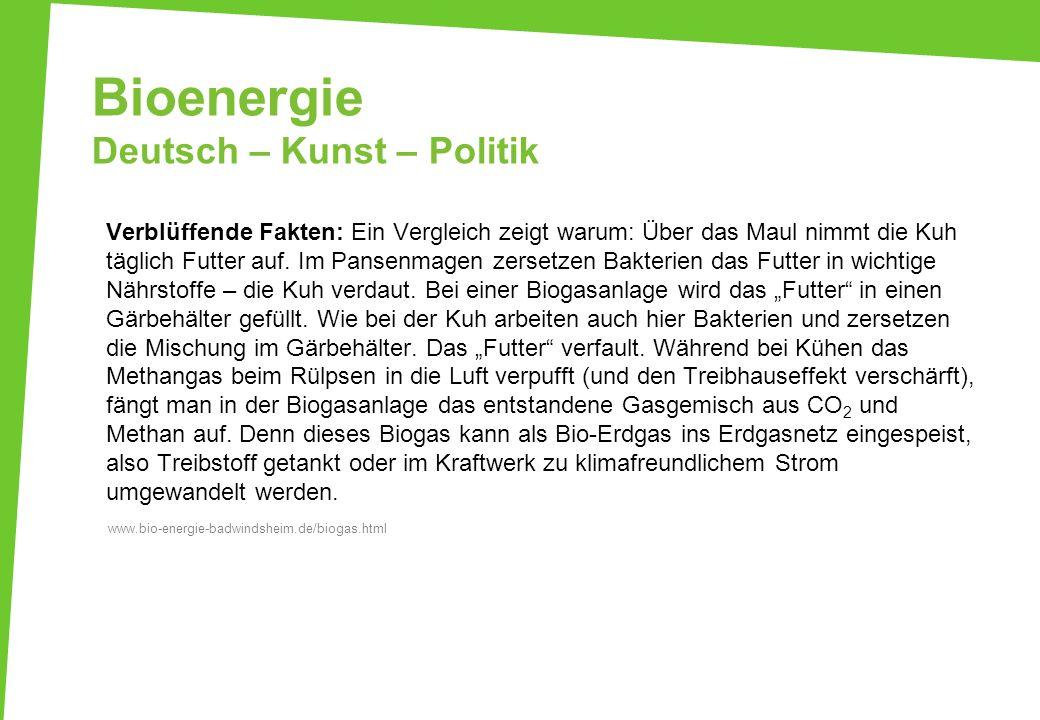 Bioenergie Deutsch – Kunst – Politik Verblüffende Fakten: Ein Vergleich zeigt warum: Über das Maul nimmt die Kuh täglich Futter auf. Im Pansenmagen ze