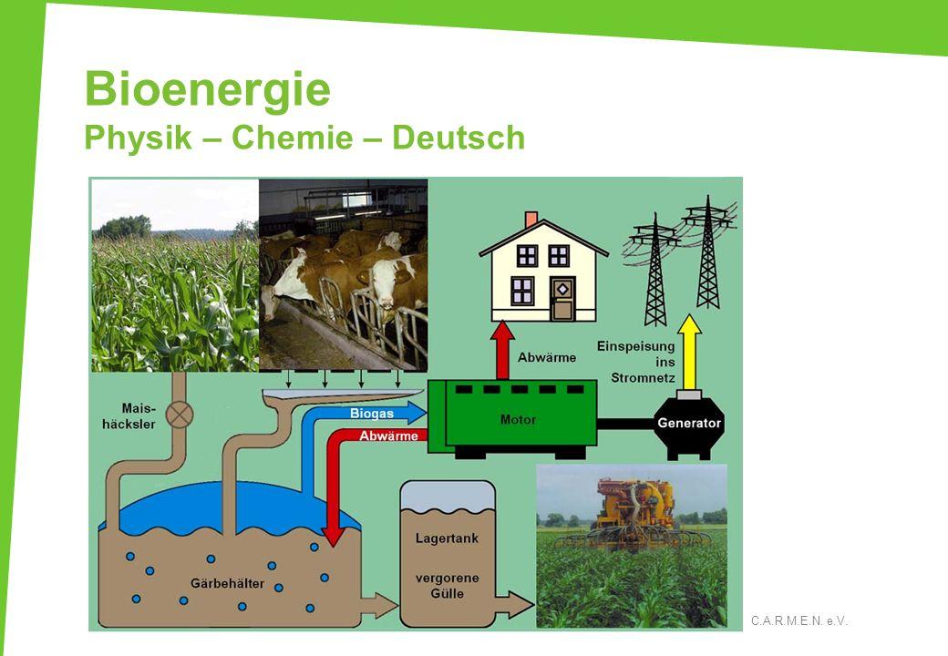 Bioenergie Physik – Chemie – Deutsch C.A.R.M.E.N. e.V.