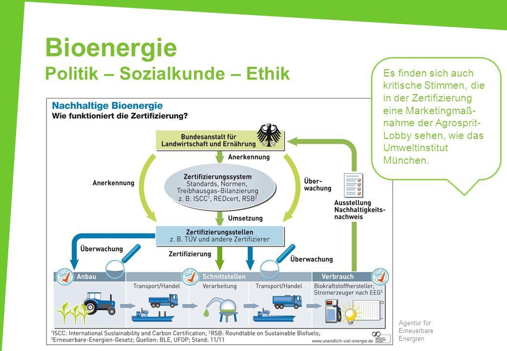 Bioenergie Politik – Sozialkunde – Ethik Agentur für Erneuerbare Energien Es finden sich auch kritische Stimmen, die in der Zertifizierung eine Market