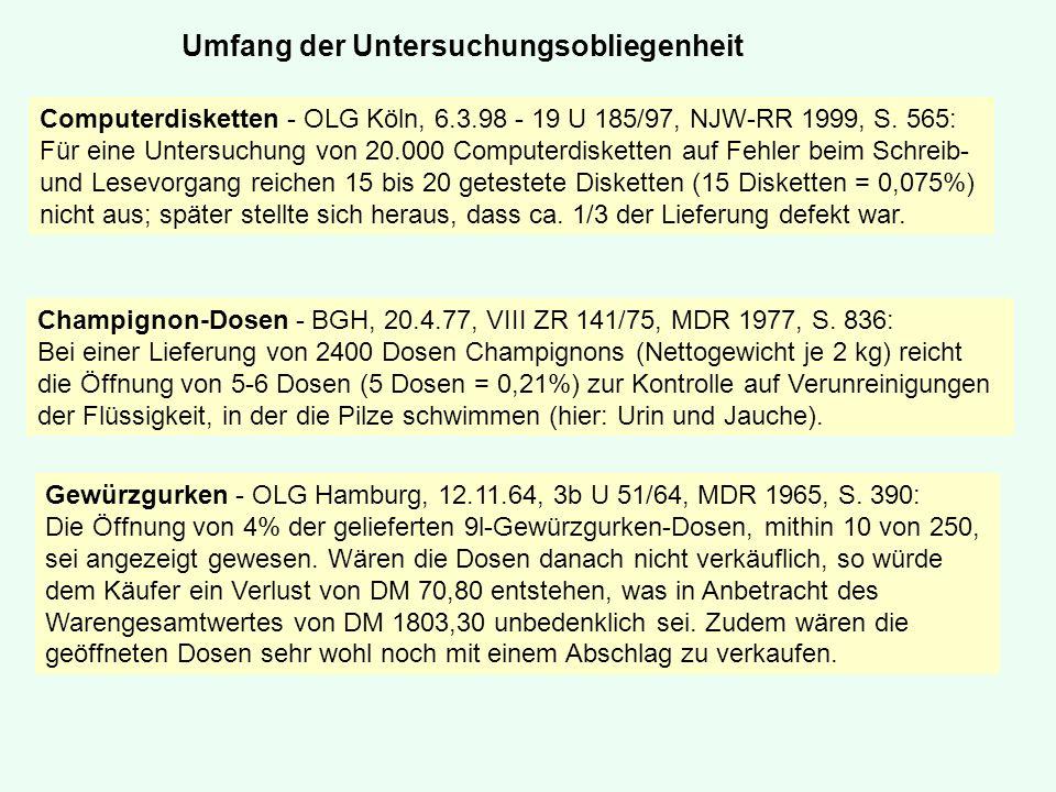 Computerdisketten - OLG Köln, 6.3.98 - 19 U 185/97, NJW-RR 1999, S. 565: Für eine Untersuchung von 20.000 Computerdisketten auf Fehler beim Schreib- u