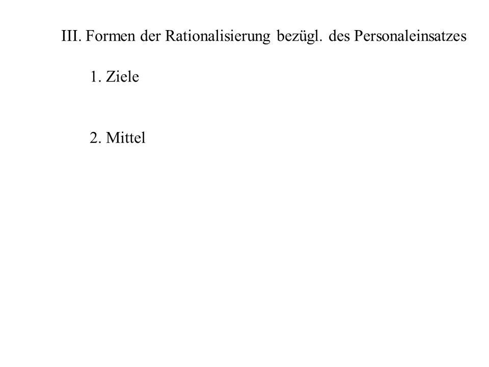 III. Formen der Rationalisierung bezügl. des Personaleinsatzes 1. Ziele 2. Mittel