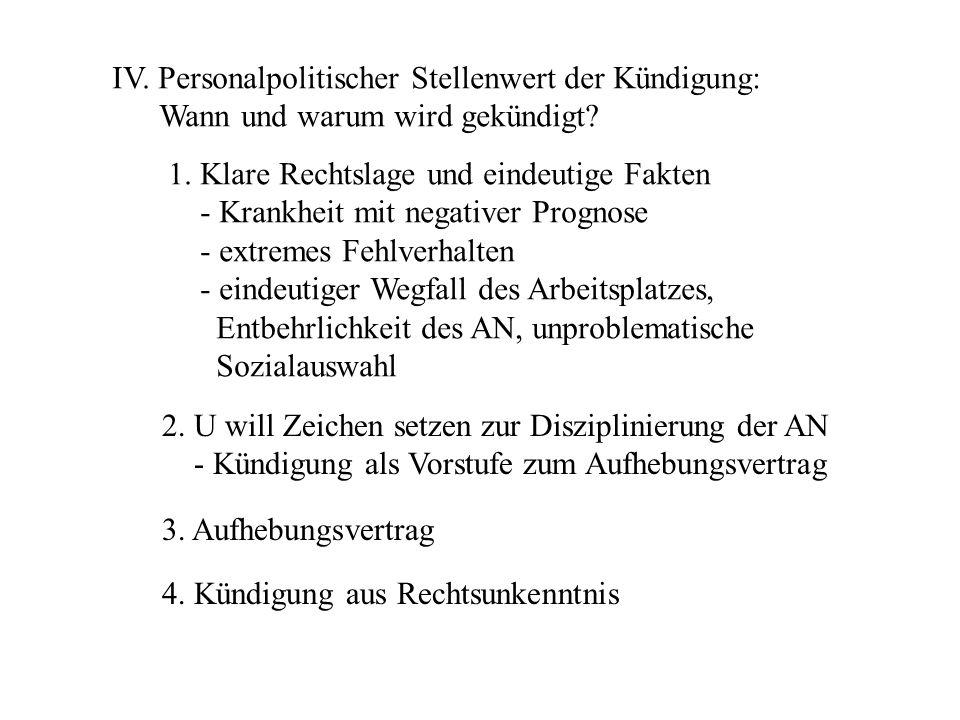 IV. Personalpolitischer Stellenwert der Kündigung: Wann und warum wird gekündigt.
