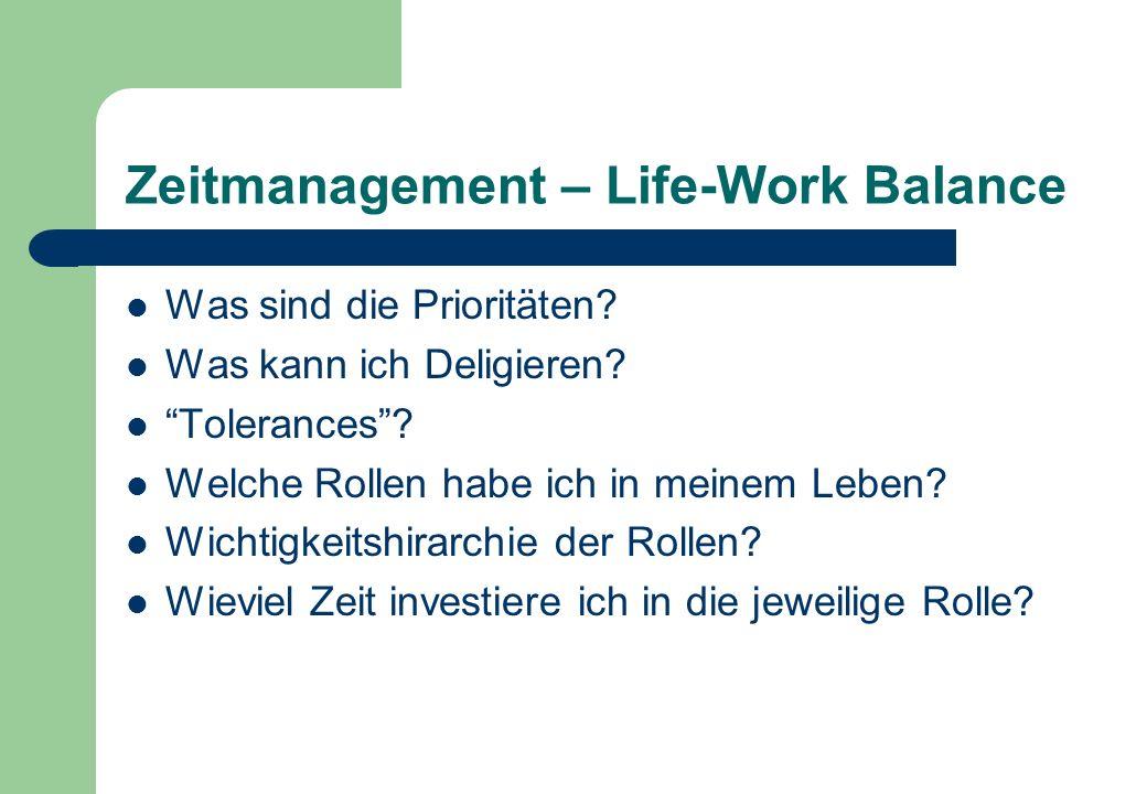 Zeitmanagement – Life-Work Balance Was sind die Prioritäten.