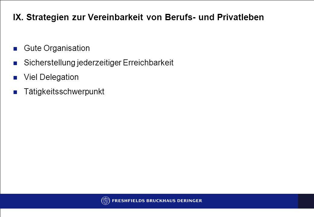 IX. Strategien zur Vereinbarkeit von Berufs- und Privatleben Gute Organisation Sicherstellung jederzeitiger Erreichbarkeit Viel Delegation Tätigkeitss