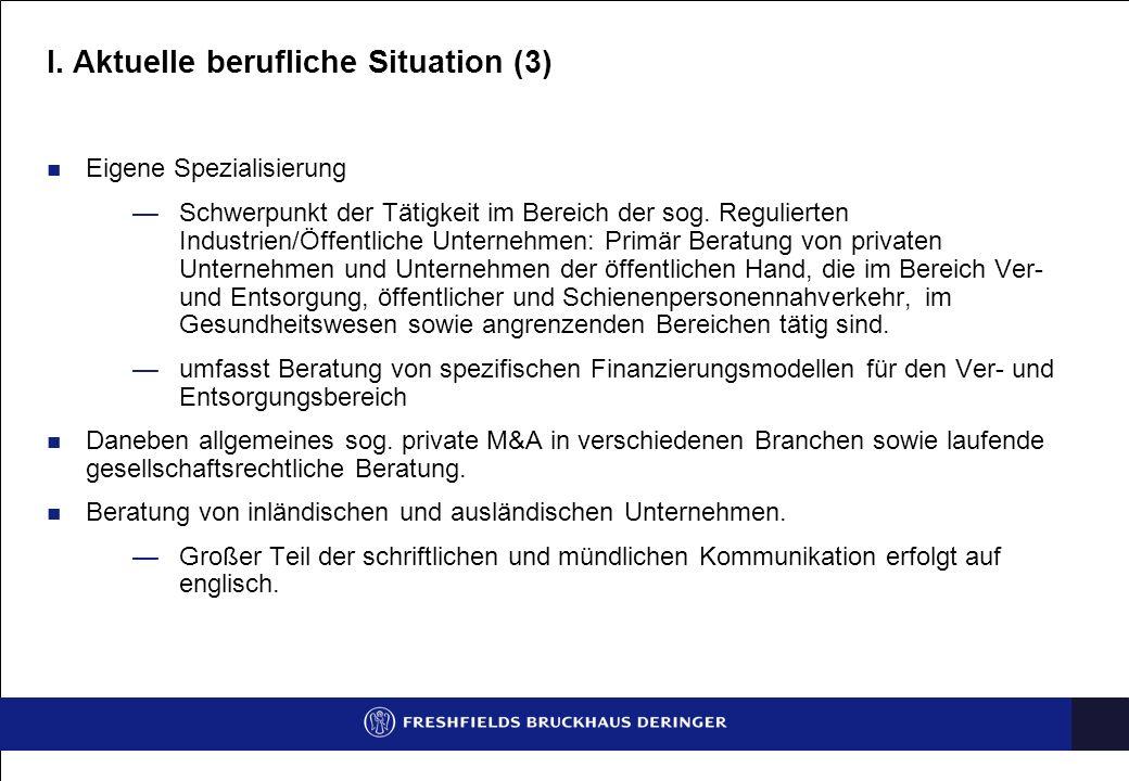 I. Aktuelle berufliche Situation (3) Eigene Spezialisierung Schwerpunkt der Tätigkeit im Bereich der sog. Regulierten Industrien/Öffentliche Unternehm