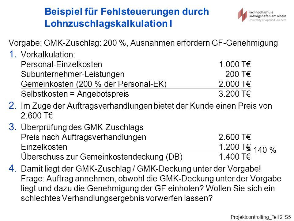 Projektcontrolling_Teil 2 S5 Beispiel für Fehlsteuerungen durch Lohnzuschlagskalkulation I Vorgabe: GMK-Zuschlag: 200 %, Ausnahmen erfordern GF-Genehm