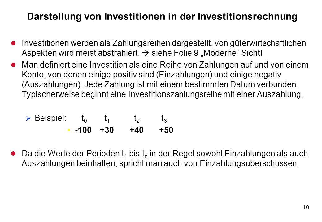 10 Darstellung von Investitionen in der Investitionsrechnung l Investitionen werden als Zahlungsreihen dargestellt, von güterwirtschaftlichen Aspekten