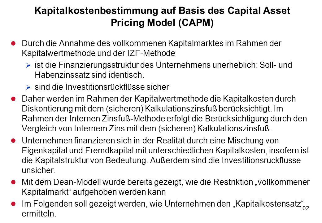 102 Kapitalkostenbestimmung auf Basis des Capital Asset Pricing Model (CAPM) l Durch die Annahme des vollkommenen Kapitalmarktes im Rahmen der Kapital