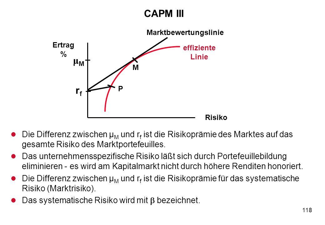 118 CAPM III l Die Differenz zwischen μ M und r f ist die Risikoprämie des Marktes auf das gesamte Risiko des Marktportefeuilles. l Das unternehmenssp