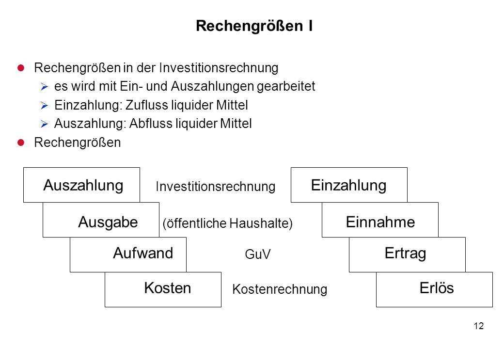 12 Rechengrößen I l Rechengrößen in der Investitionsrechnung es wird mit Ein- und Auszahlungen gearbeitet Einzahlung: Zufluss liquider Mittel Auszahlu