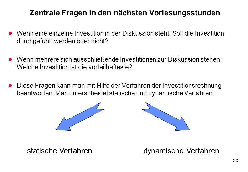 20 Zentrale Fragen in den nächsten Vorlesungsstunden l Wenn eine einzelne Investition in der Diskussion steht: Soll die Investition durchgeführt werde
