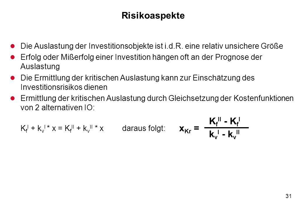 31 Risikoaspekte l Die Auslastung der Investitionsobjekte ist i.d.R. eine relativ unsichere Größe l Erfolg oder Mißerfolg einer Investition hängen oft
