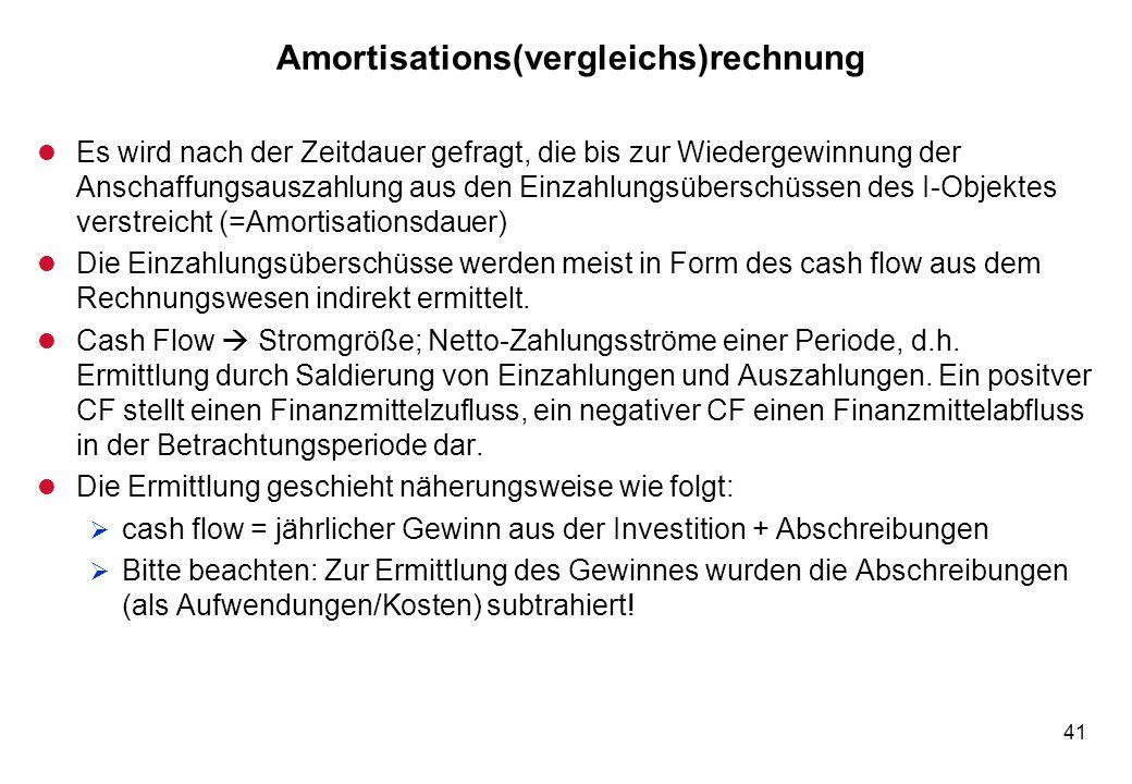 41 Amortisations(vergleichs)rechnung l Es wird nach der Zeitdauer gefragt, die bis zur Wiedergewinnung der Anschaffungsauszahlung aus den Einzahlungsü