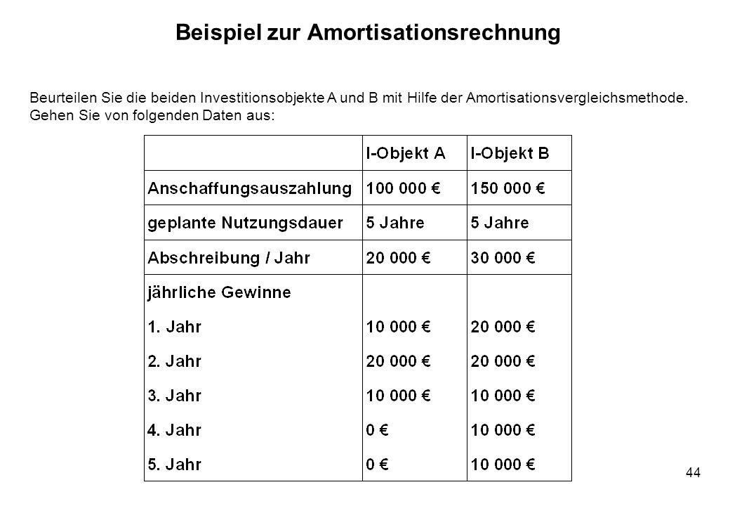 44 Beispiel zur Amortisationsrechnung Beurteilen Sie die beiden Investitionsobjekte A und B mit Hilfe der Amortisationsvergleichsmethode. Gehen Sie vo