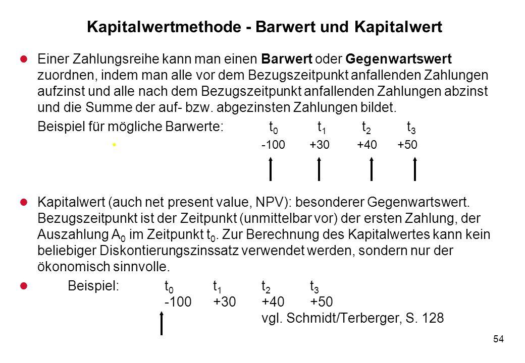 54 Kapitalwertmethode - Barwert und Kapitalwert l Einer Zahlungsreihe kann man einen Barwert oder Gegenwartswert zuordnen, indem man alle vor dem Bezu