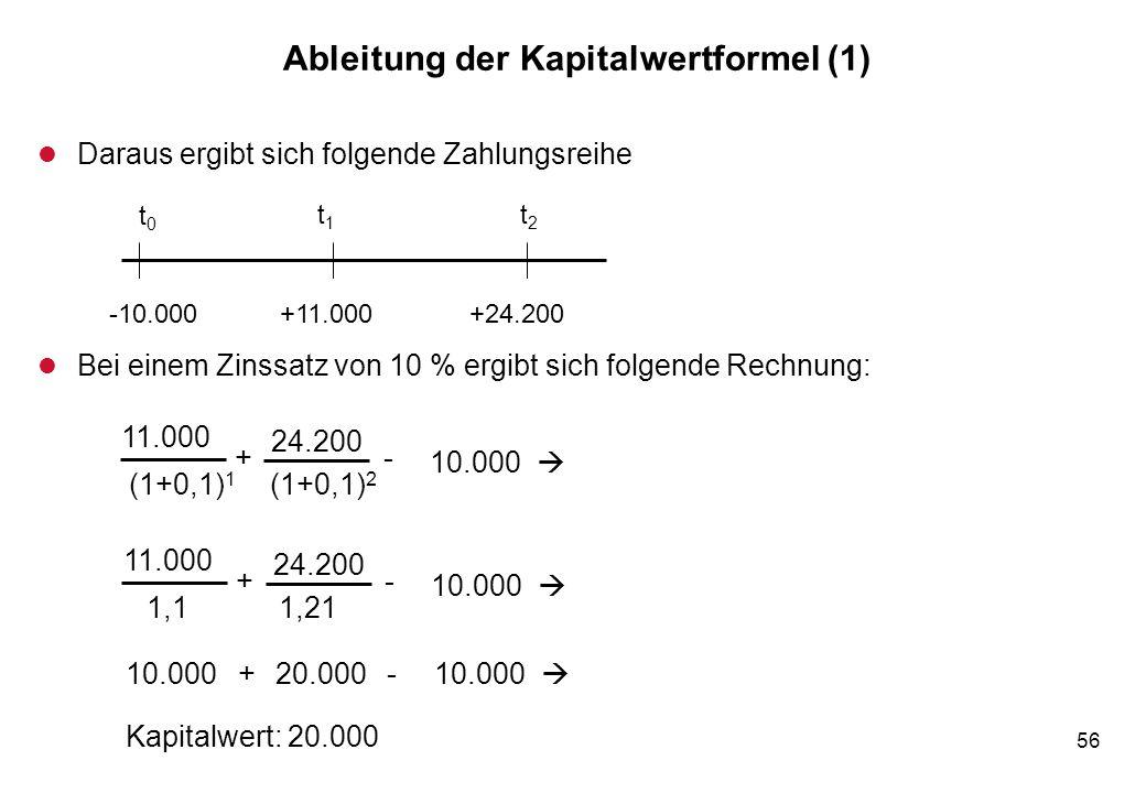 56 Ableitung der Kapitalwertformel (1) l Daraus ergibt sich folgende Zahlungsreihe l Bei einem Zinssatz von 10 % ergibt sich folgende Rechnung: t0t0 t
