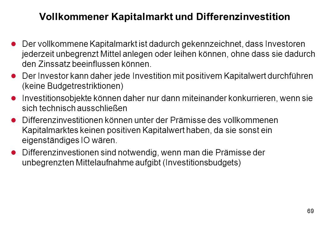 69 Vollkommener Kapitalmarkt und Differenzinvestition l Der vollkommene Kapitalmarkt ist dadurch gekennzeichnet, dass Investoren jederzeit unbegrenzt