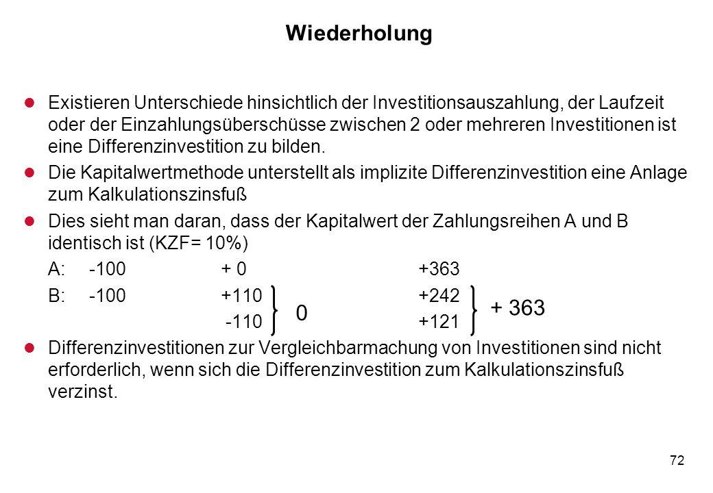 72 Wiederholung l Existieren Unterschiede hinsichtlich der Investitionsauszahlung, der Laufzeit oder der Einzahlungsüberschüsse zwischen 2 oder mehrer