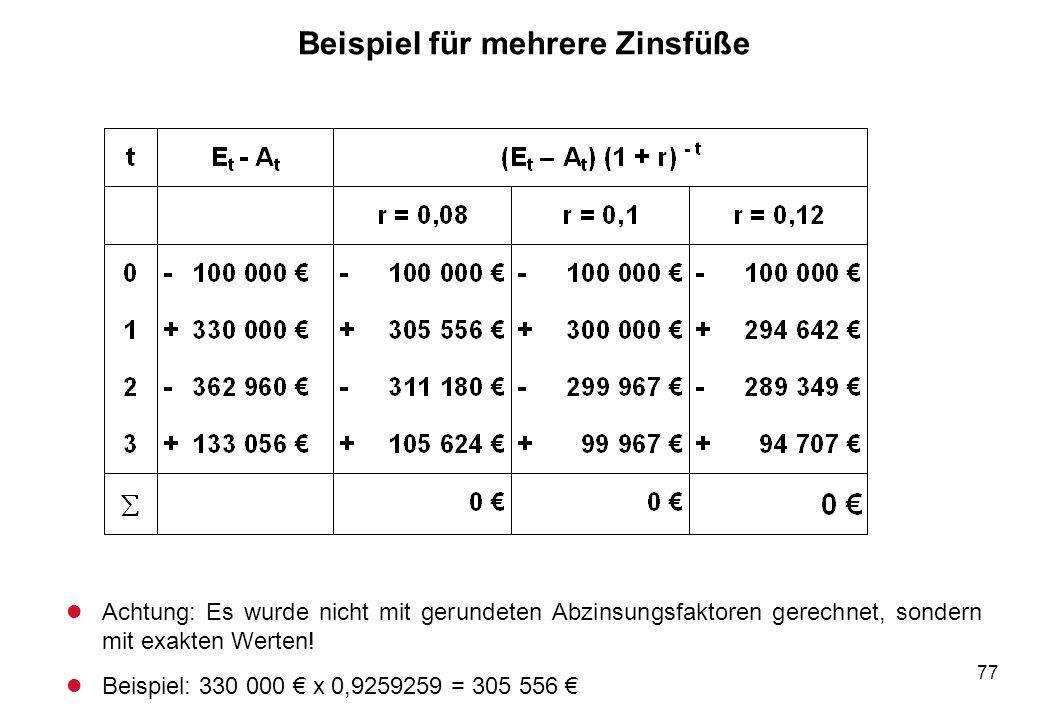 77 Beispiel für mehrere Zinsfüße l Achtung: Es wurde nicht mit gerundeten Abzinsungsfaktoren gerechnet, sondern mit exakten Werten! l Beispiel: 330 00