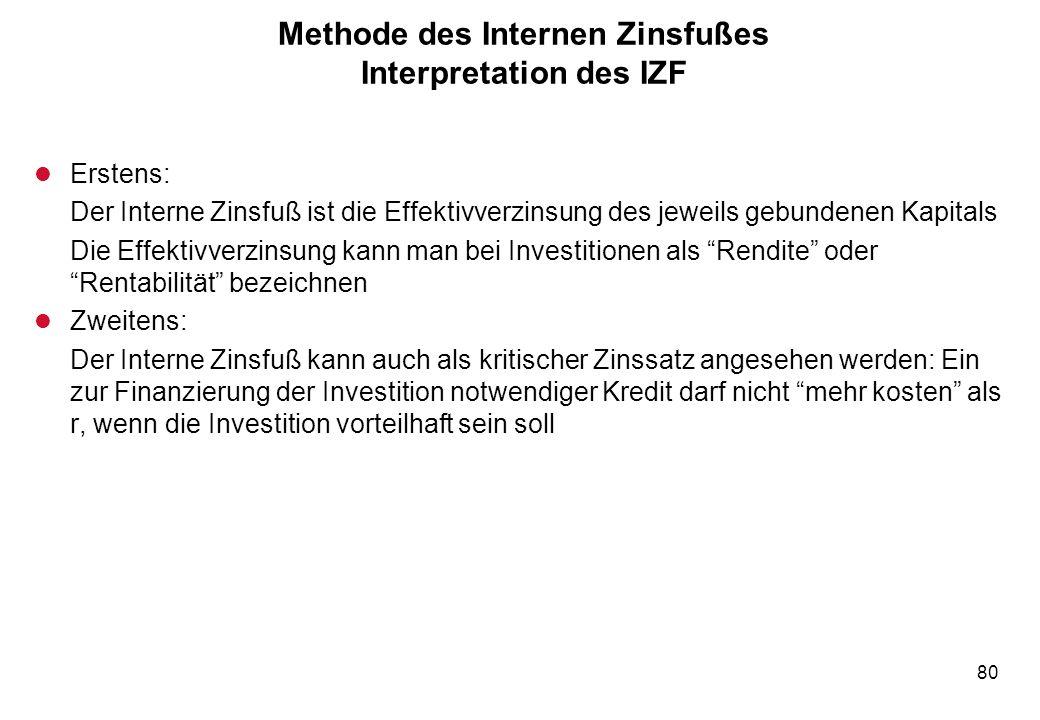 80 Methode des Internen Zinsfußes Interpretation des IZF l Erstens: Der Interne Zinsfuß ist die Effektivverzinsung des jeweils gebundenen Kapitals Die