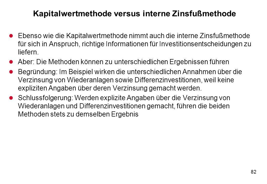 82 Kapitalwertmethode versus interne Zinsfußmethode l Ebenso wie die Kapitalwertmethode nimmt auch die interne Zinsfußmethode für sich in Anspruch, ri