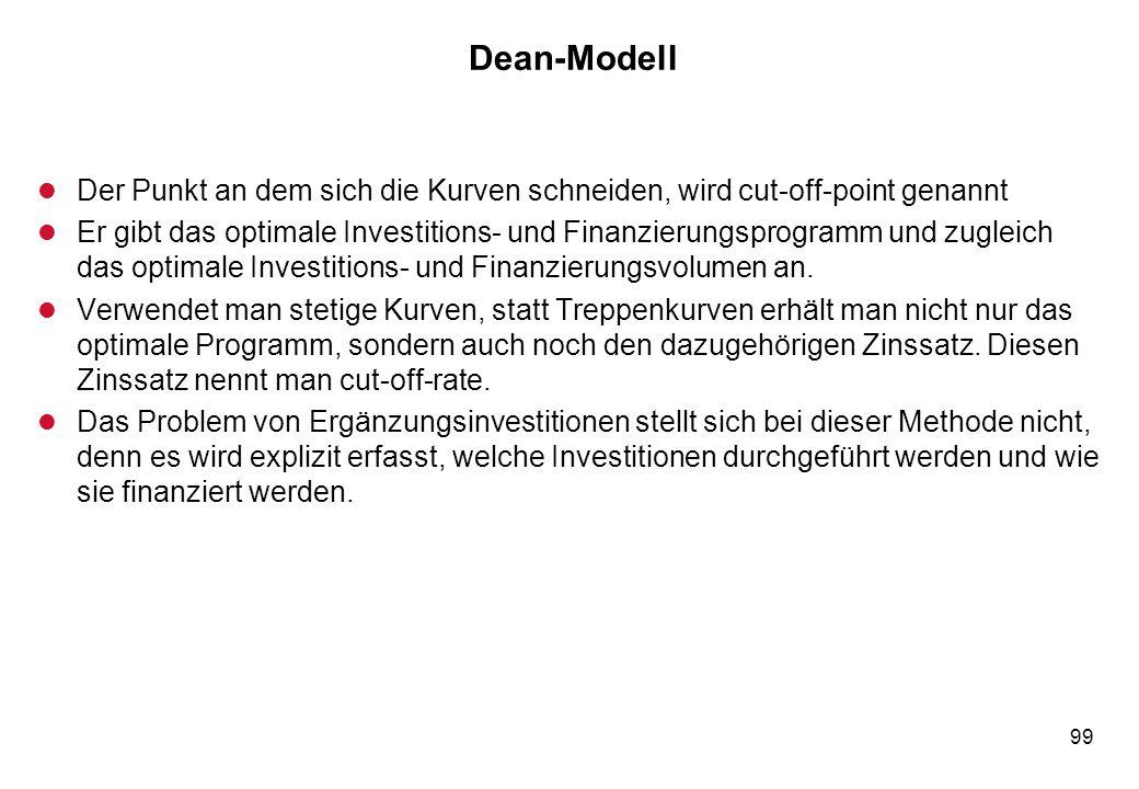 99 Dean-Modell l Der Punkt an dem sich die Kurven schneiden, wird cut-off-point genannt l Er gibt das optimale Investitions- und Finanzierungsprogramm