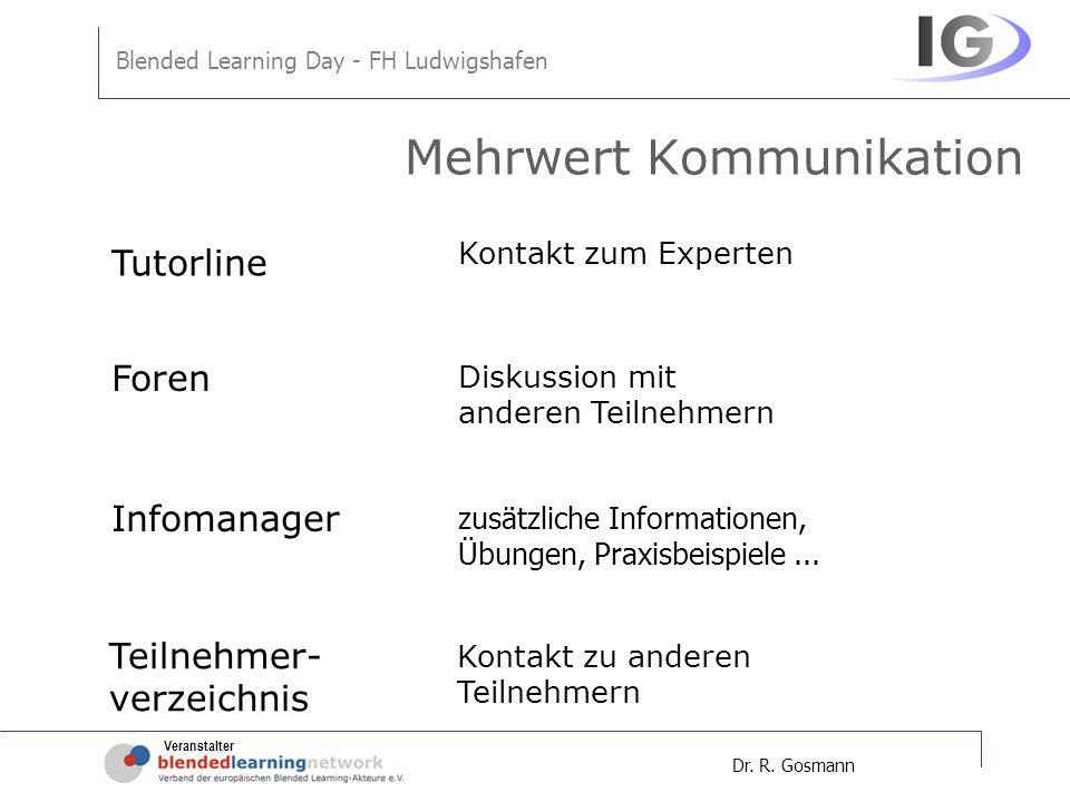 Veranstalter Blended Learning Day - FH Ludwigshafen Dr. R. Gosmann Mehrwert Kommunikation Kontakt zum Experten Diskussion mit anderen Teilnehmern zusä