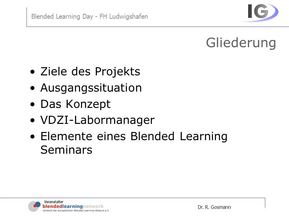 Veranstalter Blended Learning Day - FH Ludwigshafen Dr. R. Gosmann Gliederung Ziele des Projekts Ausgangssituation Das Konzept VDZI-Labormanager Eleme