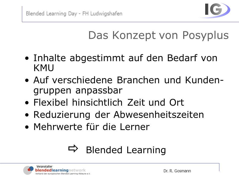 Veranstalter Blended Learning Day - FH Ludwigshafen Dr.