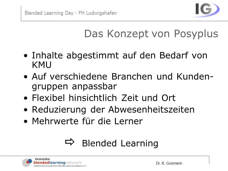 Veranstalter Blended Learning Day - FH Ludwigshafen Dr. R. Gosmann Das Konzept von Posyplus Inhalte abgestimmt auf den Bedarf von KMU Auf verschiedene