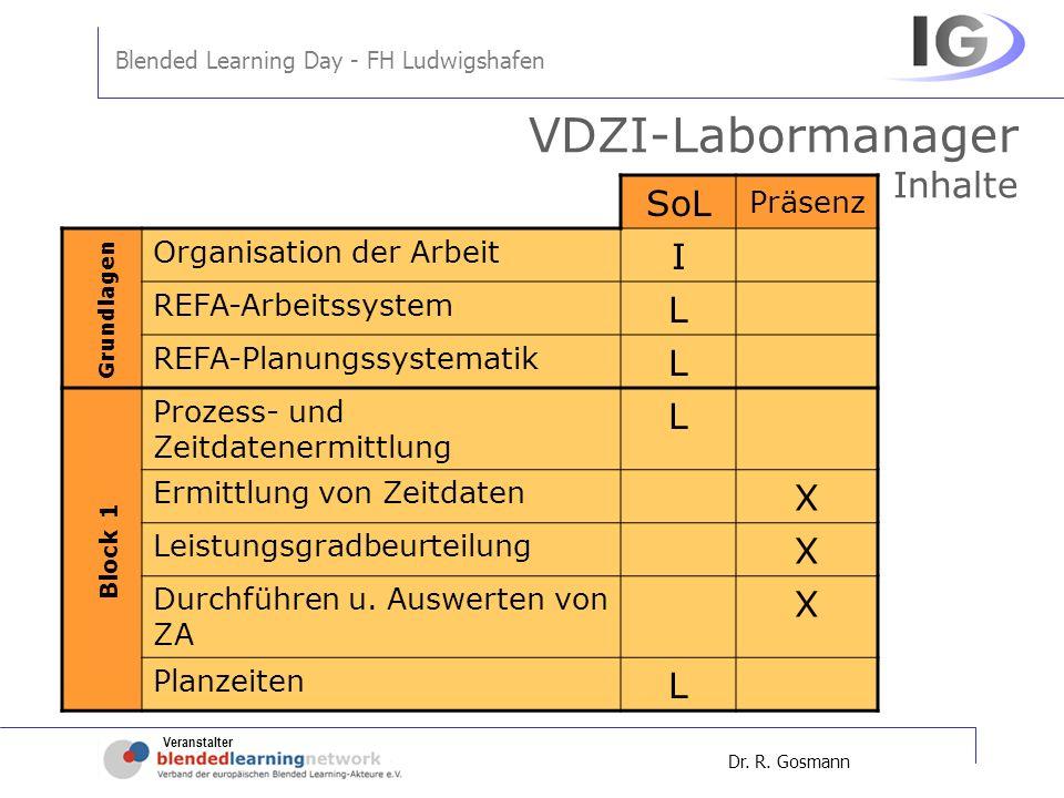 Veranstalter Blended Learning Day - FH Ludwigshafen Dr. R. Gosmann VDZI-Labormanager Inhalte SoL Präsenz Organisation der Arbeit I REFA-Arbeitssystem