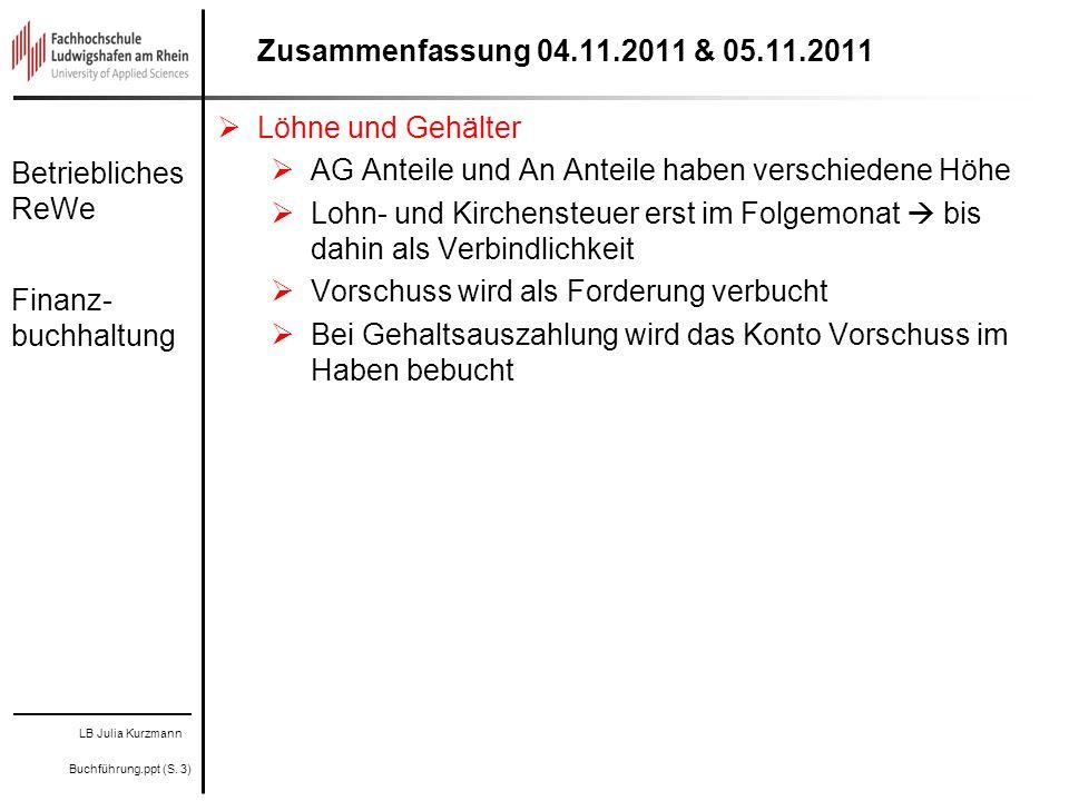 LB Julia Kurzmann Buchführung.ppt (S. 3) Betriebliches ReWe Finanz- buchhaltung Zusammenfassung 04.11.2011 & 05.11.2011 Löhne und Gehälter AG Anteile