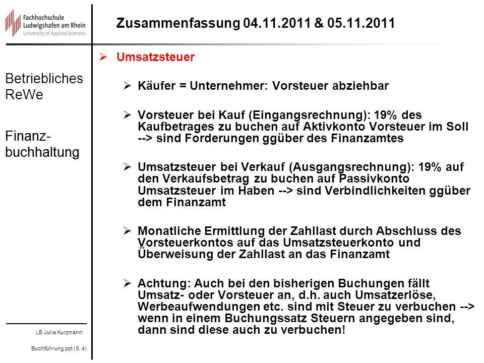 LB Julia Kurzmann Buchführung.ppt (S. 4) Betriebliches ReWe Finanz- buchhaltung Zusammenfassung 04.11.2011 & 05.11.2011 Umsatzsteuer Käufer = Unterneh