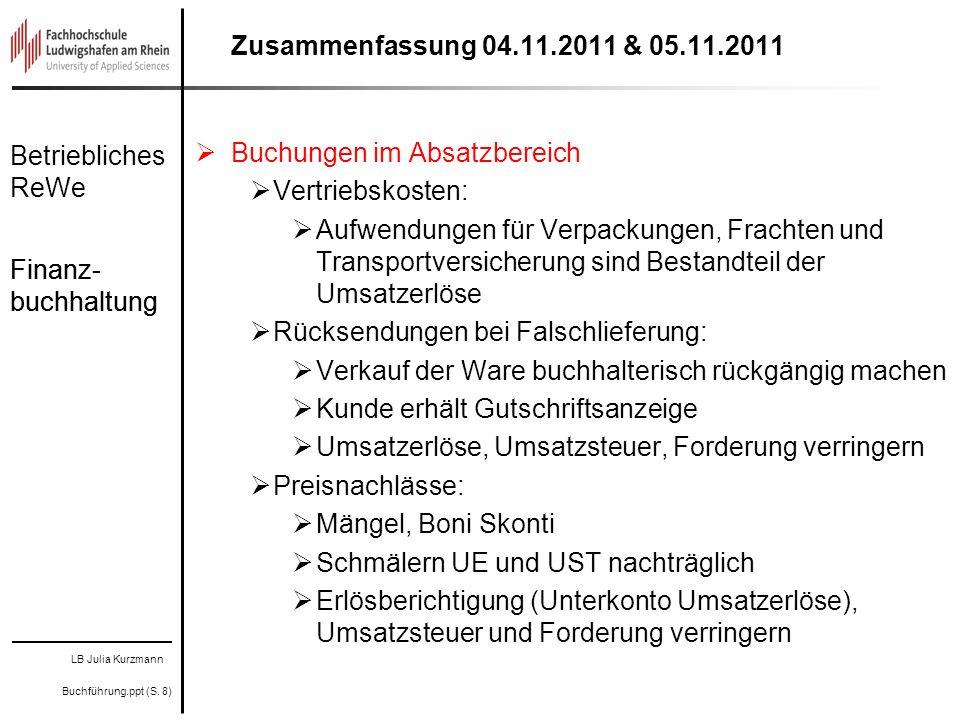 LB Julia Kurzmann Buchführung.ppt (S. 8) Betriebliches ReWe Finanz- buchhaltung Zusammenfassung 04.11.2011 & 05.11.2011 Buchungen im Absatzbereich Ver