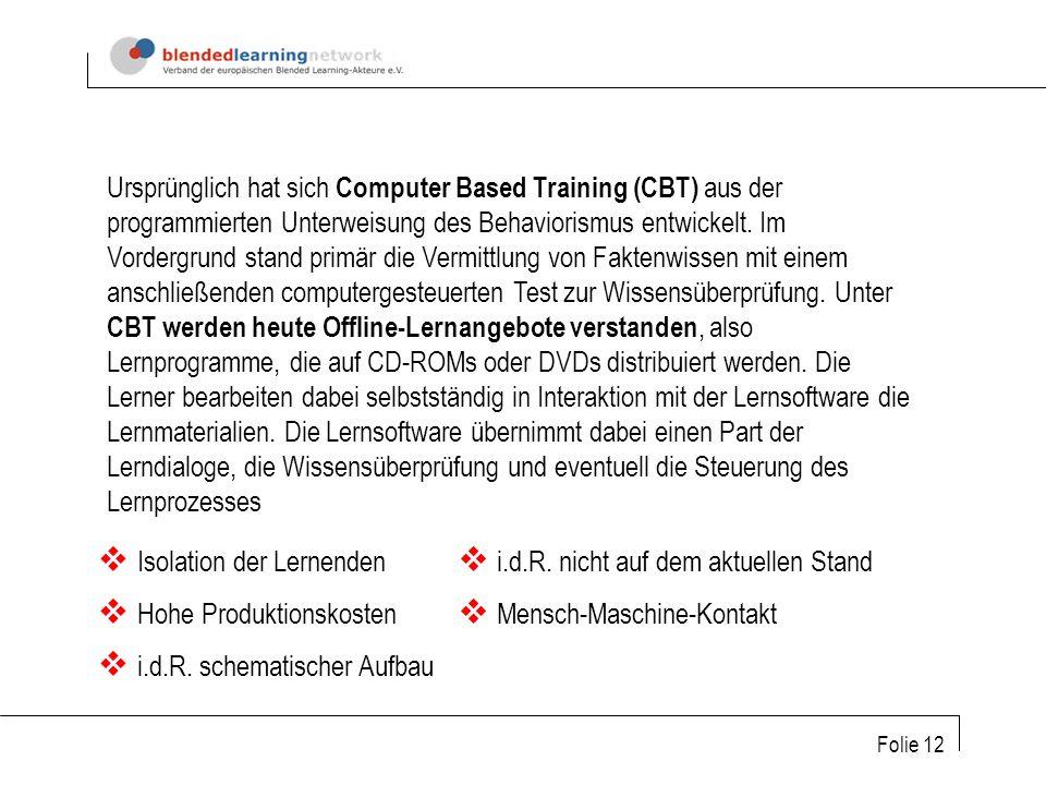 Folie 12 Ursprünglich hat sich Computer Based Training (CBT) aus der programmierten Unterweisung des Behaviorismus entwickelt.