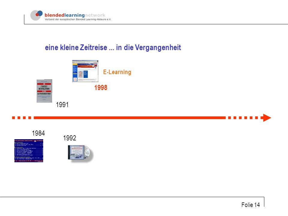 Folie 14 1984 1991 1992 1998 eine kleine Zeitreise... in die Vergangenheit E-Learning
